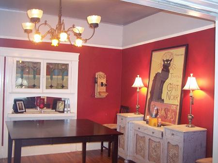 Bold red dining room