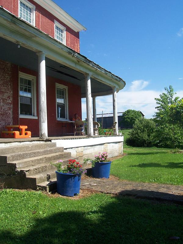 front porch--9' high poles
