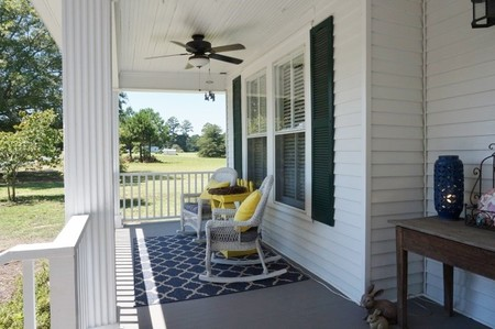 Wood plank front porch